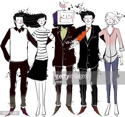 Vista de Cinco Pessoas : Arte vetorial
