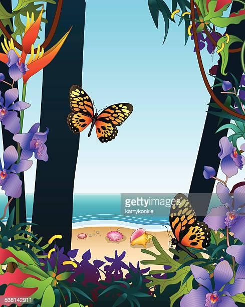 Blick auf das Meer am Strand von tropischen Regenwald vertikale mit Schmetterlingen