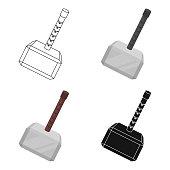Viking battle hammer icon in cartoon style isolated on white background. Vikings symbol stock vector illustration.