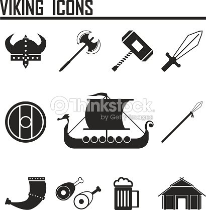 Vikings And Scandinavian Items The Food Weapons Flat Icon