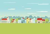 Houses, Trees and Church in Flat Design.