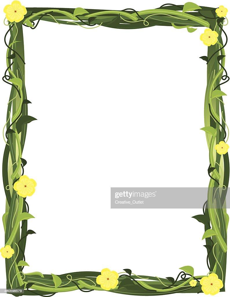 Vine Blossoms Frame C : Vector Art
