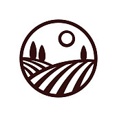 Stylized Tuscan vineyard landscape vector illustration. Modern monochrome winery emblem.