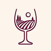 Stylized vineyard landscape in wine glass shape, vector illustration. Modern monochrome winery emblem.