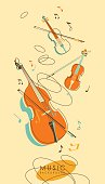 Background with stringed musical instruments violins, cello in vintage sketch style