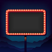 Vintage signboard with lights. Roadside sign. Road sign from the 50s. Retro character. Red billboard with lamps. Black background with a blank frame 3D. Shield against night mountain. Vector