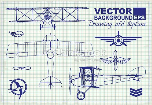 vintage airplanes drawing on graph paper and design elements vector