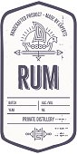 Vintage rum label design with ethnic elements in thin line style. Alcohol industry emblem, distilling business. Monochrome, black on white. Place for text
