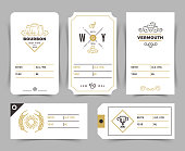 Vintage alcoholic drinks bottle vector labels and price tags in line art style. Drink bourbon and vermouth card label, alcoholic beverage illustration