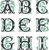 vector set of letters in the old vintage style. Part 1