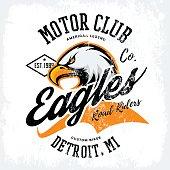 Vintage American furious eagle custom bike motor club tee print vector design isolated on white background.