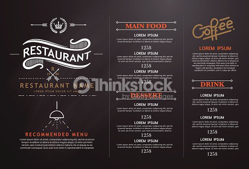 Vintage and art restaurant menu design vector art thinkstock for Artistic cuisine menu