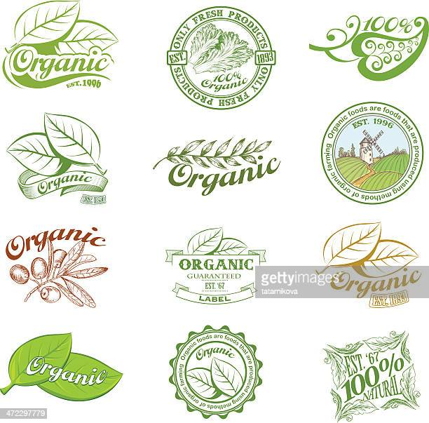 Vintage and modern organic labels