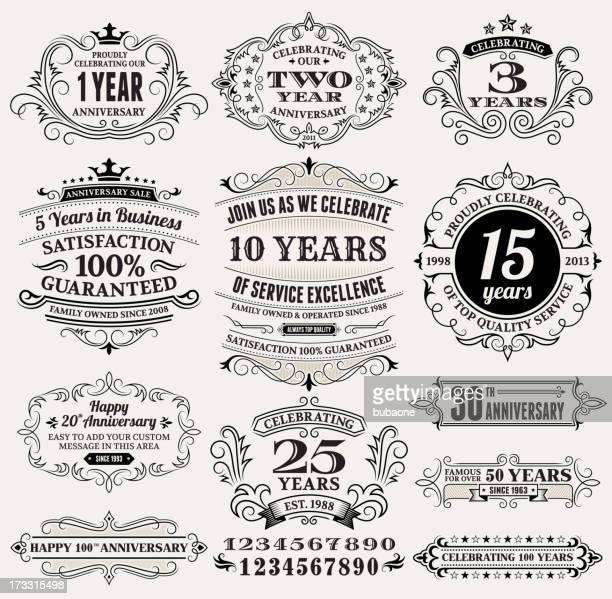 Aniversario Vintage etiquetas, marcos y elementos de diseño con espacio de copia