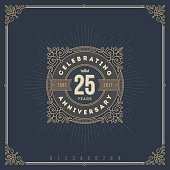 Vintage Anniversary emblem with flourishes calligraphic ornamental elements.- vector illustration