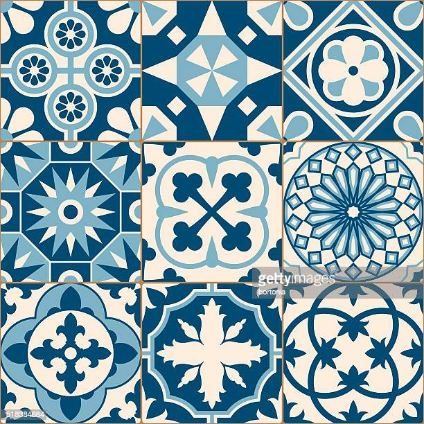 Vintage Antique Blue Mosaic Porcelain Tiles Seamless Pattern