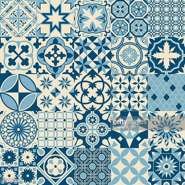 Jahrgang alte blauen Mosaik nahtlose Musterung Porzellanfliesen