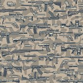 Vintage army colorful seamless pattern with different guns grenade bullets on light camouflage background vector illustration