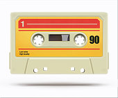 Vector illustration of vintage plastic audio cassette tape isolated on a white background
