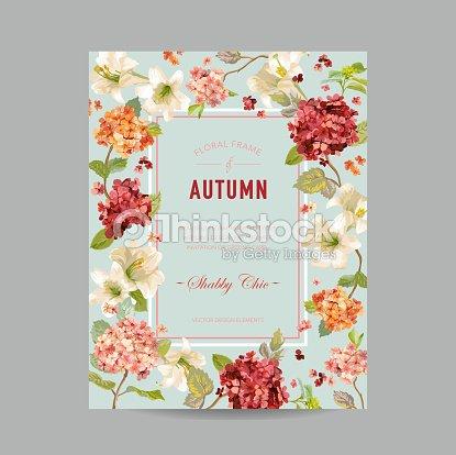 Vintage Herbst Und Sommer Floral Frame Aquarell Hortensia Blumen Fur