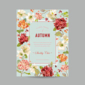 Vintage Autumn and Summer Floral Frame. Watercolor Hortensia Flowers for Invitation, Wedding, Baby Shower Card in Vector