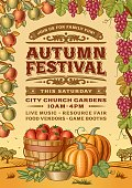 Vintage autumn festival poster in woodcut style. Editable vector illustration with clipping mask.