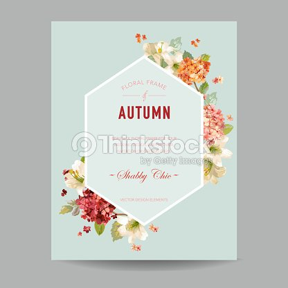 Vintage autumn watercolor hortensia flowers for invitation wedding vintage autumn watercolor hortensia flowers for invitation wedding baby shower card in vector stopboris Gallery