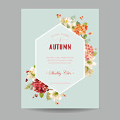 Vintage Autumn Watercolor Hortensia Flowers for Invitation, Wedding, Baby Shower Card in Vector