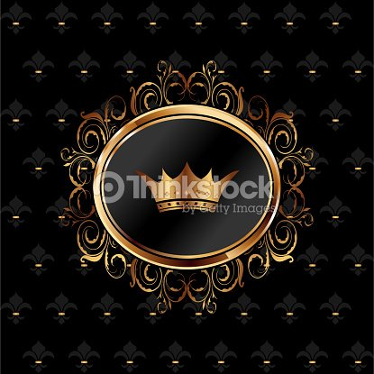 Vintage Background With Floral Frame And Crown Vector Art Thinkstock