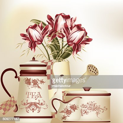 Vintage Background With Teapot Cup And Tulips In Pastel ...
