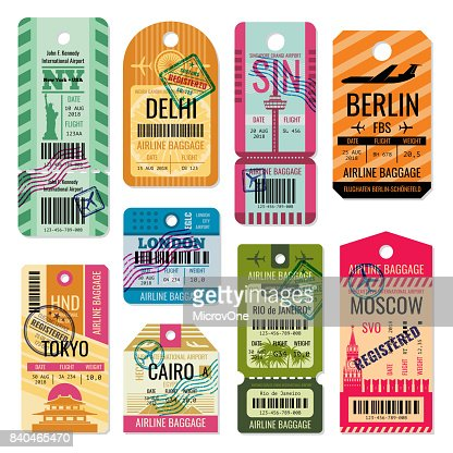 Vintage baggage tags and luggage labels vector set : Vector Art