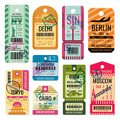 Vintage baggage tags and luggage labels vector set. Baggage tag and label for transportation illustration