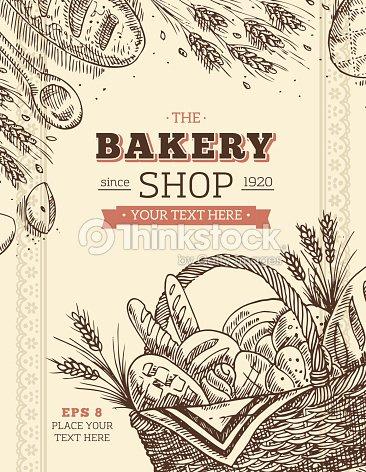 Mod le de carte vintage boulangerie clipart vectoriel thinkstock - Coloriage farine ...