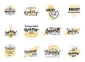 Vintage bakery lettering set. Vector color hand drawn vintage engraving illustration for label and menu bakery shop