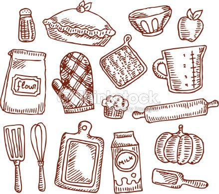 Vintage Baking Supplies Vector Art