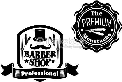 Vintage barber shop banners or labels designs set vector for Simbolo barbiere