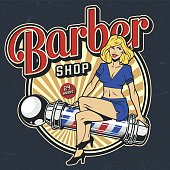 Vintage barbershop colorful badge with pinup blonde woman sitting on barber pole isolated vector illustration