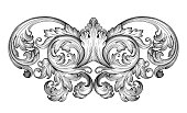 Vintage baroque frame leaf scroll floral ornamental engraving border in retro  antique style