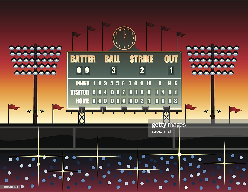 Vintage Baseball Scoreboard Illustration Vector Art | Getty