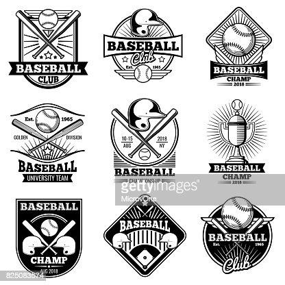 Vintage baseball vector labels and emblems : stock vector