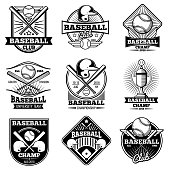 Vintage baseball vector labels and emblems. Baseball label design for school league illustration