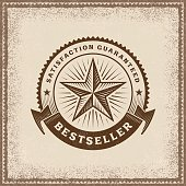 Vintage Bestseller label in woodcut style. Editable EPS10 vector illustration with transparency.