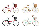 Vintage bicycles or city bicycles on white background. Vector illustration.