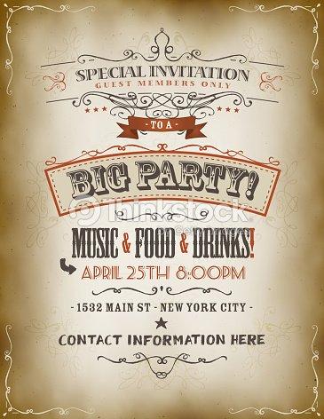 Vintage big party invitation poster vector art thinkstock vintage big party invitation poster vector art stopboris Choice Image