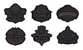 Vintage black emblems set. Flourishes jewelry crest. Calligraphic monogram letters. Floral royal drink design. Vector luxury frames, restaurant, boutique, heraldic, cafe, hotel