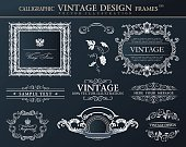 Vintage abstract black frames ornament set. Vector element decor