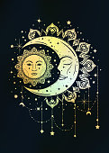 Vintage boho illustration of sun and moon. Dreamcatcher concept