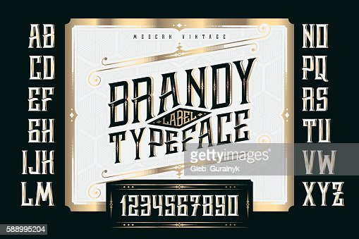 Vintage Brandy Label Typeface with classic ornate and pattern : Vector Art