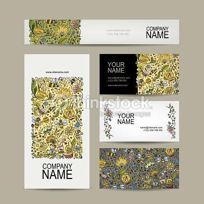 Vintage Cartes De Visite Design Floral Miel Clipart Vectoriel