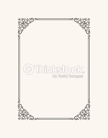 Vintage Calligraphic Frame Black And White Vector Border